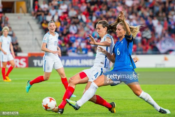 Jill Scott of England women Amandine Henry of France women during the UEFA WEURO 2017 quarter finale match between England and France at The...