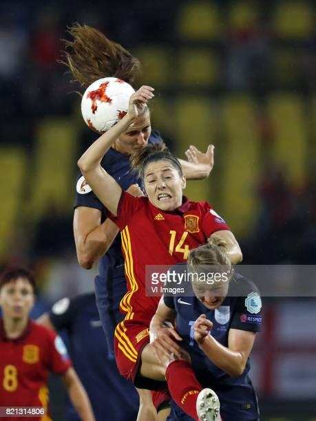 Jill Scott of England women Jennifer Hermoso of Spain women Jade Moore of England women during the UEFA WEURO 2017 Group D group stage match between...