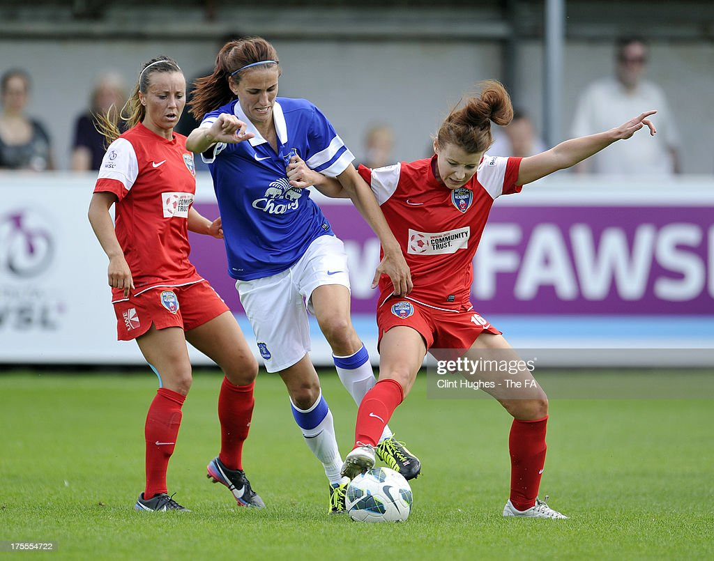 Jill Scott (L) of Everton Ladies FC and Angharad James of Bristol Academy Women's FC battle for the ball during the FA WSL match between Everton Ladies FC and Bristol Academy Women's FC at the Arriva Stadium on July 4, 2013 in Liverpool, England