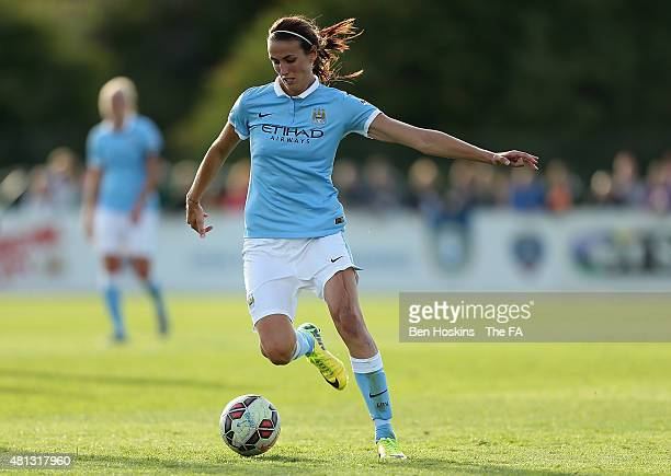 Jill Scott of Manchester City in action during the WSL match between Bristol Academy Women and Manchester City Women at Stoke Gifford Stadium on July...