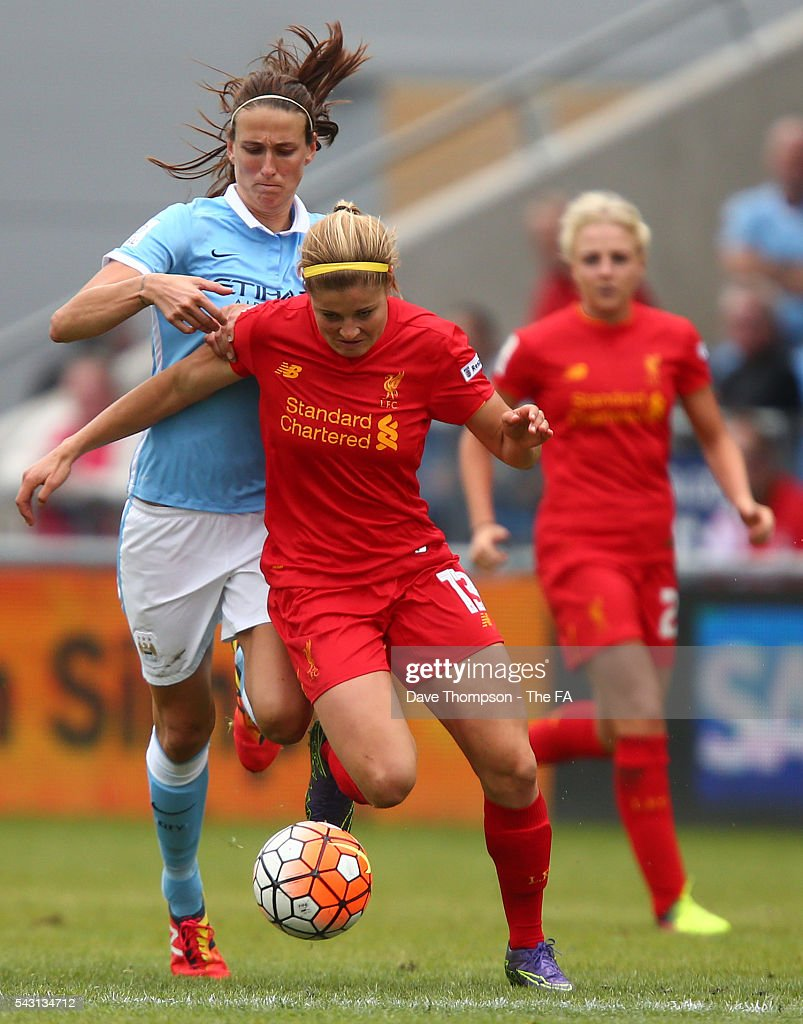 Jill Scott of Manchester City Women fouls Rosie White of Liverpool Ladies during the FA WSL match between Manchester City Women and Liverpool Ladies FC on June 26, 2016 in Manchester, England.