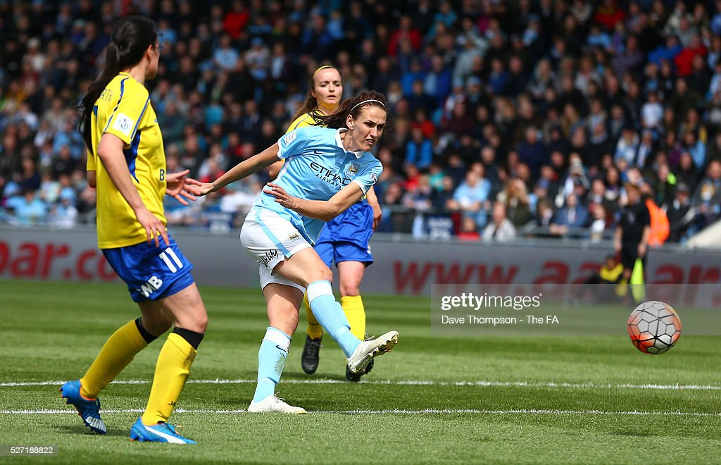 Jill Scott of Manchester City Women scores her sides second goal during the game between Manchester City Women and Doncaster Belles at the Manchester City Academy Stadium on May 2, 2016 in Manchester, England.