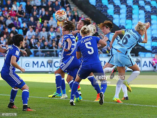 Jill Scott of Manchester City Women scores their first goal with a header during the WSL 1 match between Manchester City Women and Chelsea Ladies FC...