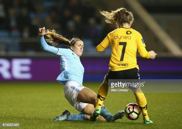 Jill Scott of Manchester City Women tackles Synne Skinnes Hansen of LSK Kvinner during the UEFA Women's Champions League match between Manchester...