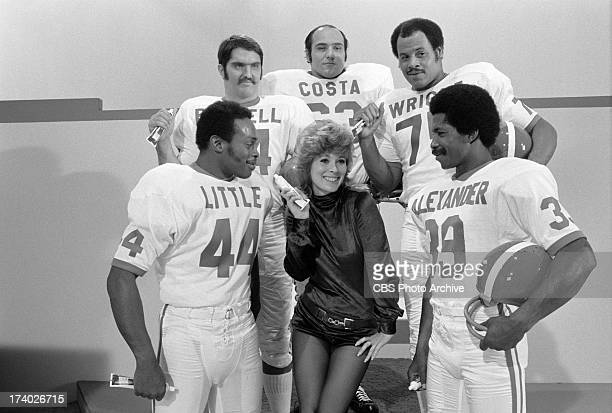 Jill St John center with Floyd Little Andy Russell Dave Costa Ernie Wright and Kermit Alexander on THE SECOND ANNUAL SUPER COMEDY BOWL Image dated...