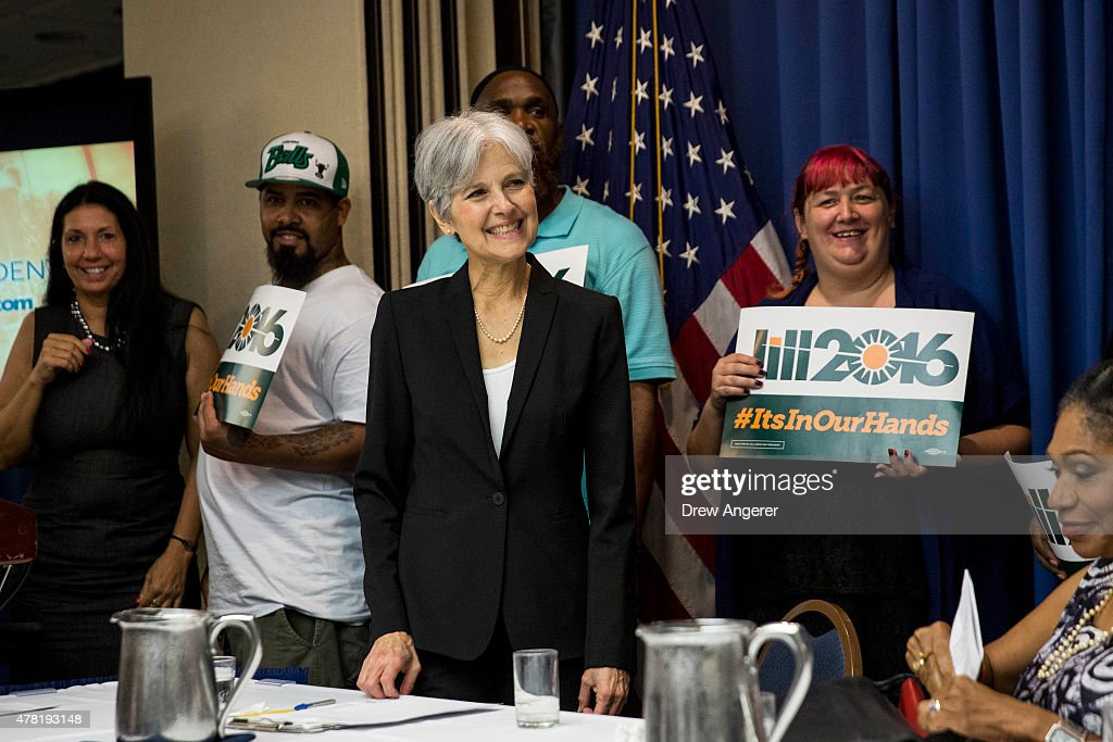 Jill Stein smiles after announcing that she will seek the Green Party's presidential nomination, at the National Press Club, June 23, 2015 in Washington, DC. Stein also ran for president in 2012 on the Green Party ticket.