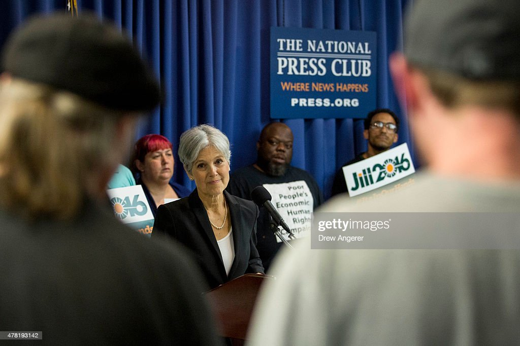 Jill Stein takes questions after announcing that she will seek the Green Party's presidential nomination, at the National Press Club, June 23, 2015 in Washington, DC. Stein also ran for president in 2012 on the Green Party ticket.