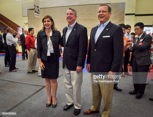 Jill Vogel left Ed Gillespie and John Adams winners of yesterday's Republican primary election gather to meet with supporters on June 2017 in...
