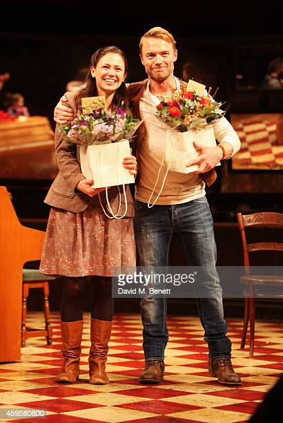 Jill Winternitz and Ronan Keating bow at the curtain call during the press night performance of 'Once' as Ronan Keating joins the cast at The Phoenix...