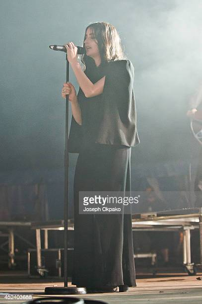 Jillian Banks performs on stage at Lovebox 2014 at Victoria Park on July 19 2014 in London United Kingdom
