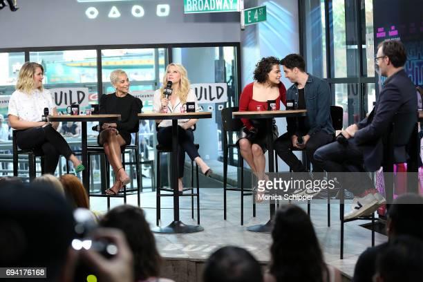 Jillian Bell Zoe Kravitz Kate McKinnon Ilana Glazer and Paul W Downs discuss 'Rough Night' at Build Studio on June 9 2017 in New York City