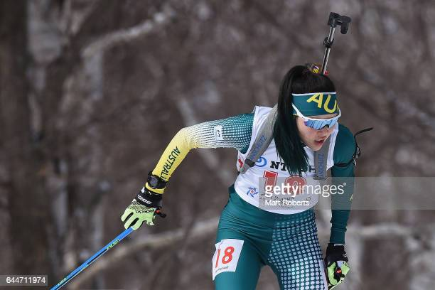 Jillian Colebourn of Australia competes in the women's biathlon 10 km pursuit on day seven of the 2017 Sapporo Asian Winter Games at Nishioka...
