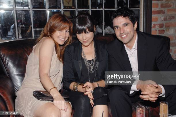 Jillian Kogan Karla Braun Steven Puri attend The Supper Club Shepard Fairey's SNO host a Bombay Sapphire Tea Party at The Tea Room on July 20 2010 in...