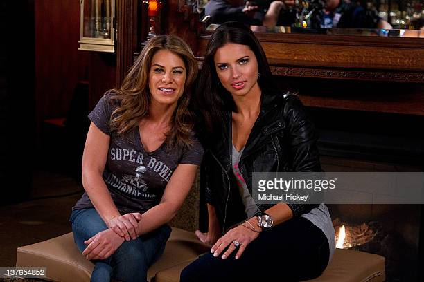 Jillian Michaels and Adriana Lima filming on location for 'Super Bowl's Greatest Commercials' at St Elmo Steak House on January 24 2012 in...