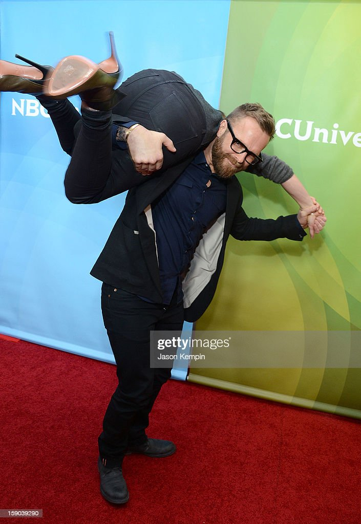 Jillian Michaels and Bob Harper attend NBCUniversal's '2013 Winter TCA Tour' Day 1 at Langham Hotel on January 6, 2013 in Pasadena, California.