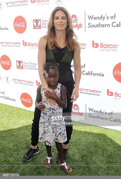 Jillian Michaels and daughter Lukensia Michaels Rhoades arrive at The Dave Thomas Foundation for adoption's kickball for a home celebrity kickball...