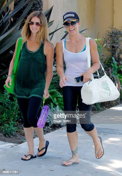 Jillian Michaels and her partner Heidi Rhoades after a yoga class in Santa Monica on September 01 2013 in Los Angeles California