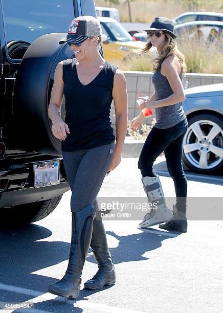 Jillian Michaels and her partner Heidi Rhoades with their son Phoenix Michaels Rhoades visit the Malibu Country Mart on September 22 2013 in Los...