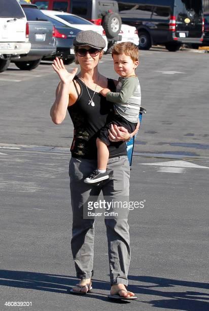 Jillian Michaels is seen with her son Phoenix Michaels Rhoades in Malibu on January 05 2014 in Los Angeles California
