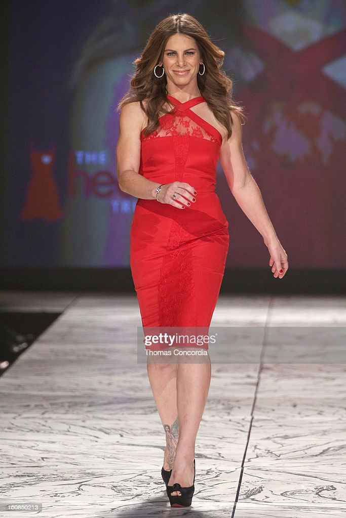 Jillian Michaels wearing Cushnie et Ochs walks the runway at The Heart Truth's Red Dress Collection during Fall 2013 Mercedes-Benz Fashion Week at Hammerstein Ballroom on February 6, 2013 in New York City.