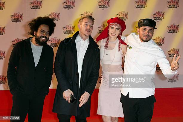 Jillionaire Diplo MO and Walshy Fire attend the 17th NRJ Music Awards ceremony at Palais des Festivals on November 7 2015 in Cannes France