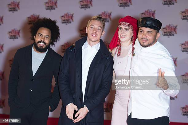 Jillionaire Diplo MO and Walshy Fire attend the 17th NRJ Music Awards at Palais Des Festivals In Cannes on November 7 2015 in Cannes France