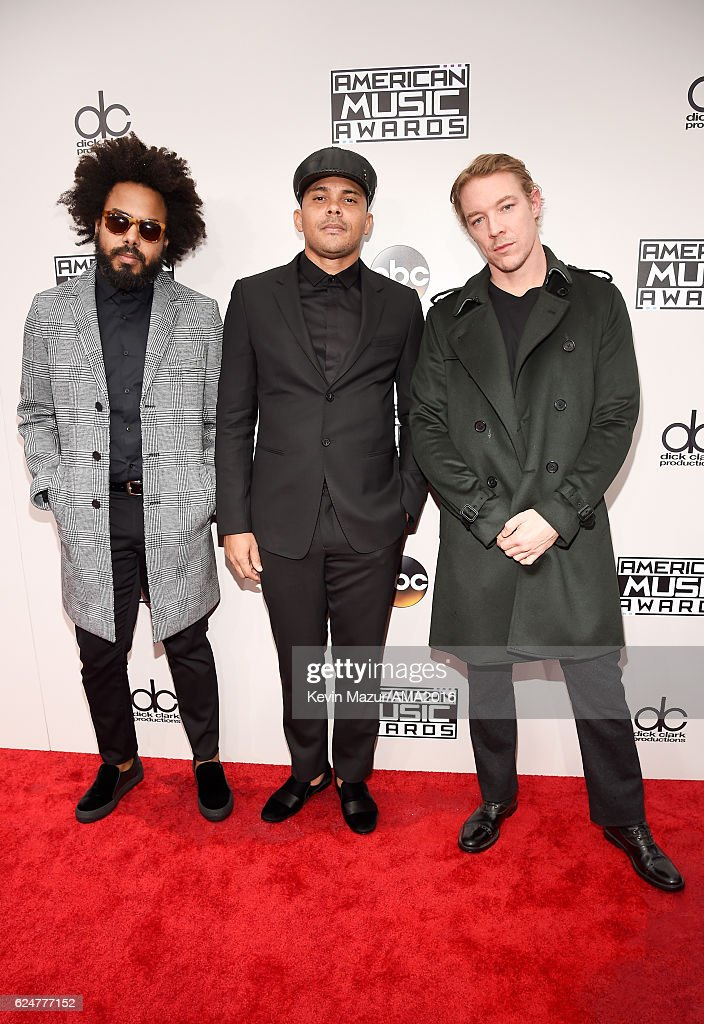 Jillionaire, Walshy Fire and Diplo of Major Lazer attend the 2016 American Music Awards at Microsoft Theater on November 20, 2016 in Los Angeles, California.