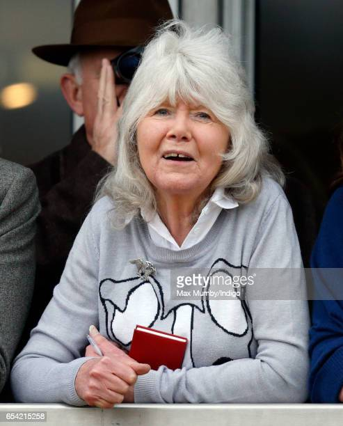 Jilly Cooper attends day 3 of the Cheltenham Festival at Cheltenham Racecourse on March 16 2017 in Cheltenham England