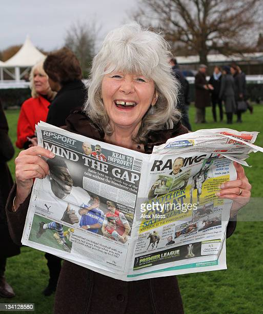 Jilly Cooper attends the Hennessy Gold Cup at Newbury Racecourse on November 26 2011 in London England