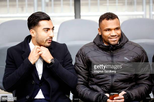 Jiloan Hamad and SergeJunior Martinsson Ngouali ahead of the Allsvenskan match between Hammarby IF and IFK Norrkoping at Tele2 Arena on October 1...