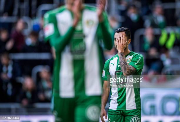 Jiloan Hamad of Hammarby IF after the Allsvenskan match between Hammarby IF and GIF Sundsvall at Tele2 Arena on April 23 2017 in Stockholm Sweden