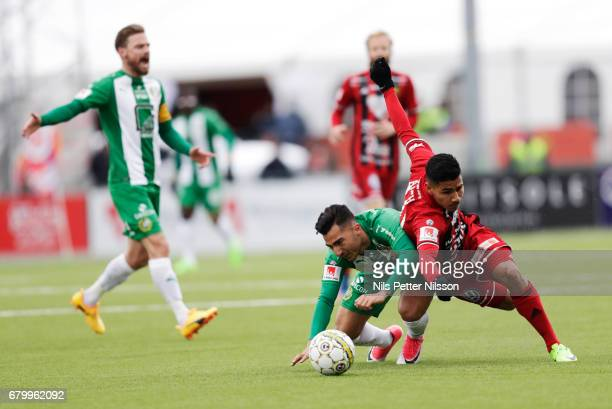 Jiloan Hamad of Hammarby IF and Hosam Aiesh of Ostersunds FK during the Allsvenskan match between Ostersunds FK and Hammarby IF at Jamtkraft Arena on...