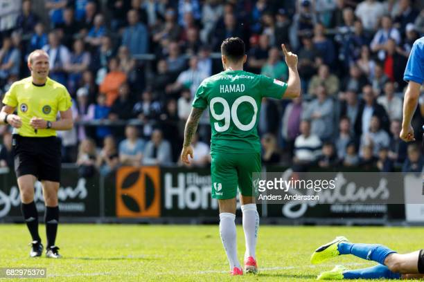 Jiloan Hamad of Hammarby IF celebrates after scoring 02 during the Allsvenskan match between Halmstad BK and Hammarby IF at Orjans Vall on May 14...