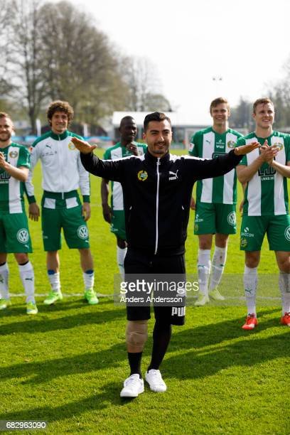 Jiloan Hamad of Hammarby IF celebrates after the victory during the Allsvenskan match between Halmstad BK and Hammarby IF at Orjans Vall on May 14...