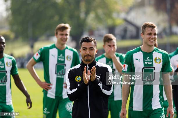 Jiloan Hamad of Hammarby IF celebrates after the victory with teammates during the Allsvenskan match between Halmstad BK and Hammarby IF at Orjans...