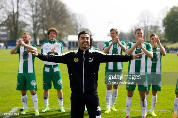 Jiloan Hamad of Hammarby IF celebrates after the victory with team mates after the Allsvenskan match between Halmstad BK and Hammarby IF at Orjans...