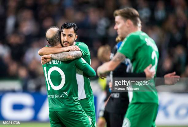 Jiloan Hamad of Hammarby IF celebrates together with Kennedy Bakircioglu after the victory during the Allsvenskan match between Hammarby IF and IFK...