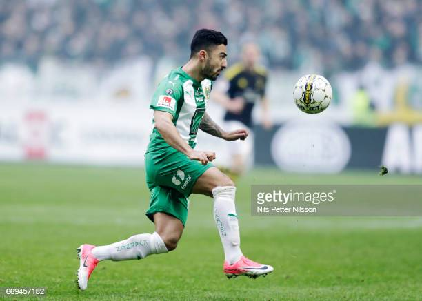 Jiloan Hamad of Hammarby IF during the Allsvenskan match between AIK and Hammarby IF at Friends arena on April 17 2017 in Solna Sweden