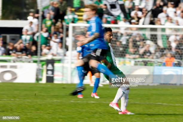 Jiloan Hamad of Hammarby IF during the Allsvenskan match between Halmstad BK and Hammarby IF at Orjans Vall on May 14 2017 in Halmstad Sweden