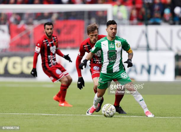 Jiloan Hamad of Hammarby IF during the Allsvenskan match between Ostersunds FK and Hammarby IF at Jamtkraft Arena on May 7 2017 in Ostersund Sweden