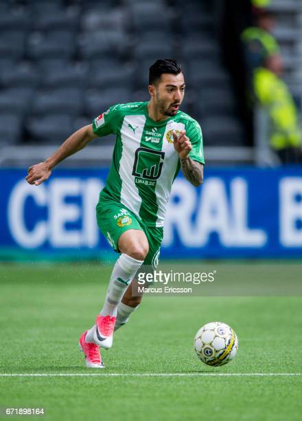 Jiloan Hamad of Hammarby IF during the Allsvenskan match between Hammarby IF and GIF Sundsvall at Tele2 Arena on April 23 2017 in Stockholm Sweden
