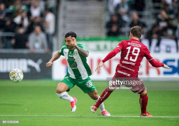 Jiloan Hamad of Hammarby IF during the Allsvenskan match between Hammarby IF and Ostersunds FK at Tele2 Arena on August 14 2017 in Stockholm Sweden