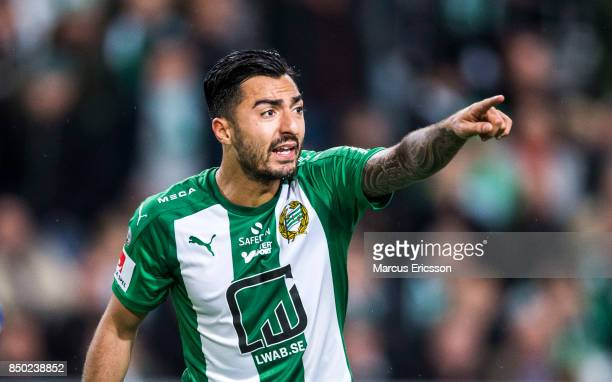 Jiloan Hamad of Hammarby IF during the Allsvenskan match between Hammarby IF and IFK Goteborg at Tele2 Arena on September 20 2017 in Stockholm Sweden