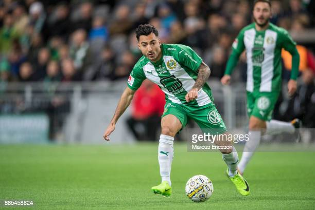 Jiloan Hamad of Hammarby IF during the Allsvenskan match between Hammarby IF and IK Sirius FK at Tele2 Arena on October 23 2017 in Stockholm Sweden