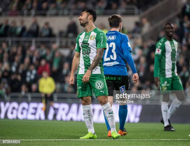 Jiloan Hamad of Hammarby IF during the Allsvenskan match between Hammarby IF and Halmstad BK at Tele2 Arena on November 5 2017 in Stockholm Sweden