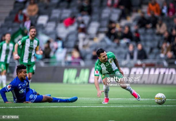 Jiloan Hamad of Hammarby IF gets tackled by Noah Sonko Sundberg of GIF Sundsvall during the Allsvenskan match between Hammarby IF and GIF Sundsvall...