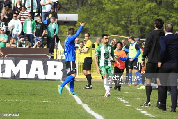 Jiloan Hamad of Hammarby IF injured during the Allsvenskan match between Halmstad BK and Hammarby IF at Orjans Vall on May 14 2017 in Halmstad Sweden