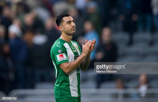 Jiloan Hamad of Hammarby IF looks dejected after the Allsvenskan match between Djurgardens IF and Hammarby IF at Tele2 Arena on September 24 2017 in...