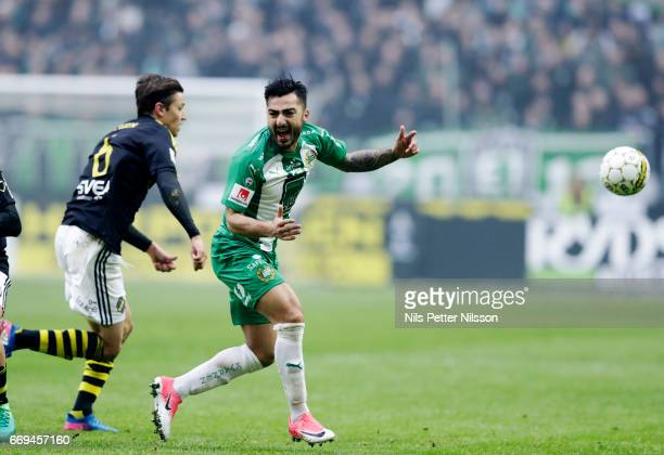 Jiloan Hamad of Hammarby IF reacts during the Allsvenskan match between AIK and Hammarby IF at Friends arena on April 17 2017 in Solna Sweden