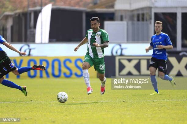 Jiloan Hamad of Hammarby IF running with the ball during the Allsvenskan match between Halmstad BK and Hammarby IF at Orjans Vall on May 14 2017 in...